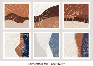 Beautiful fall inspired art nouveau backgrounds in blue, warm brown and white color combinations with golden fluid lines