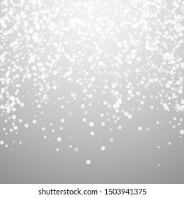 Beautiful falling snow Christmas background. Subtle flying snow flakes and stars on light grey background. Bizarre winter silver snowflake overlay template. Artistic vector illustration.
