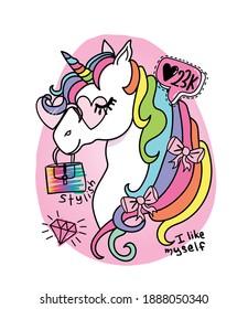 Beautiful fancy stylish fashionable unicorn, vector illustration design for fashion graphics, t shirts, prints, posters, stickers etc