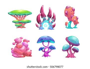 Beautiful fantasy mushrooms set. Vector magic unusual nature elements, isolated on white.