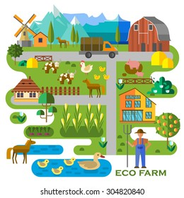 Beautiful farm scene. Abstract map of farm, with corn field, barn, truck, pond with ducks, cows, horses, pigs, and the farmer. Elements useful for agriculture infographic. Flat style. Vector file is E