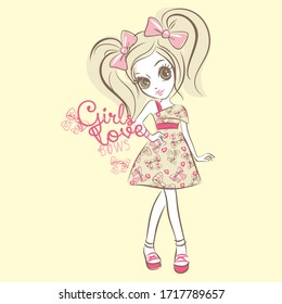 Beautiful fashion girl vector character illustration. Gils love collection