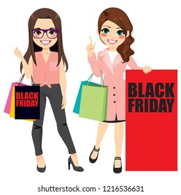 Beautiful fashion girls with shopping bags and two different clothing style on black friday event