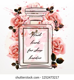 Beautiful fashion illustration with pink perfume glass bottle and roses in watercolor style