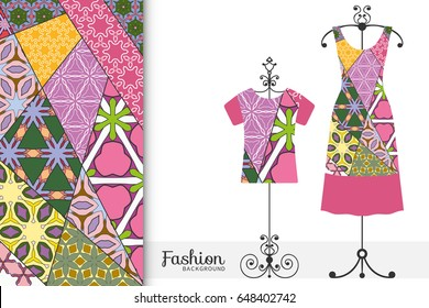Beautiful fashion illustration. Women's dress and t-shirt on a hanger and vertical patchwork pattern. Vintage decorative elements. Hand drawn background in mosaic style for textile or paper print