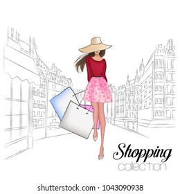 Beautiful fashion model in hat. Stylish cute girl in fashion clothes. Sketch. Fashion woman, fashion banner with text template, online shopping social media ads with beautiful girl. Vector illustration
