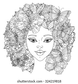 Beautiful fashion oriental women with abstract hair and floral design elements and openwork butterflies, could be used  for coloring book.  Black and white in zentangle style.
