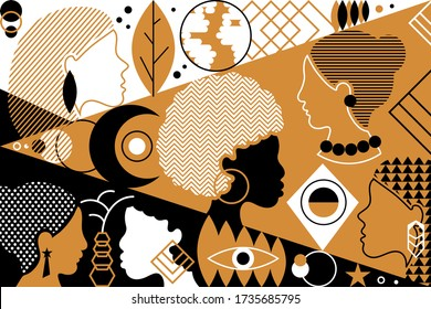Beautiful fashion pattern with diverse female faces over retro geometrical background. Trendy textile or decorative wallpaper, ethnic vector illustration. Diversity and female concept