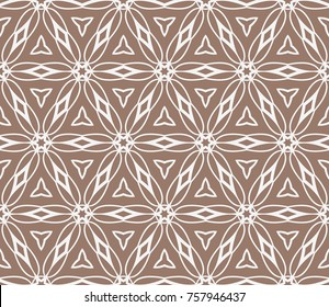Beautiful fashion seamless pattern with geometric flower lace ornament. vector illustration