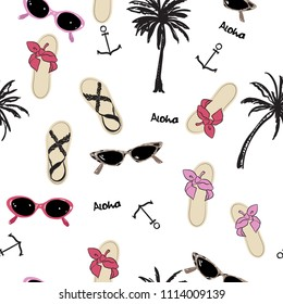 Beautiful Fashion vector  beach summer element and accessories on white  background.,Palm tree, anchor,aloha, sandals, sunglasses,Seamless pattern.