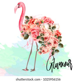 Beautiful fashion vector illustration with pink flamingo and roses. Glamour