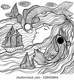 Beautiful fashion woman with abstract hair and marine design elements could be used for coloring book.