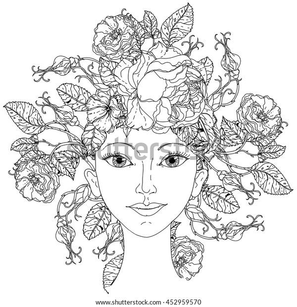 Beautiful fashion woman with abstract hair as flowers bouquet in shape of mandala for adult coloring book or for zen drawing. Hand-drawn, vector, outline detailed for coloring book, poster design