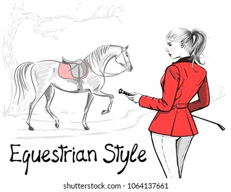 Beautiful fashion woman with english equestrian sport hunting style red jacket and horse with saddle. Rider girl and tree hand drawing. Vector art stylish lady model with whip and hair tail
