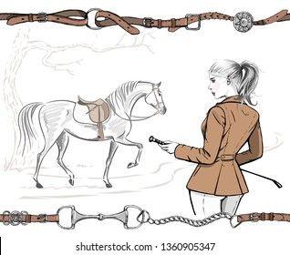 Beautiful fashion woman with english equestrian sport hunting style jacket and horse with saddle. Rider girl, tree hand drawing art. Vector stylish lady model with whip and hair tail. Belt border fram