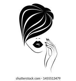 Beautiful fashion woman face with black lips, lush eyelashes, hand with black manicure nails, short black hairstyle. Beauty Logo. Vector illustration
