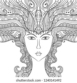 Beautiful fashion woman, fantasy girl with abstract long hair. Hand drawn face. Zen-doodle art, tattoo design, monochrome illustration. Freehand sketch drawing for adult anti stress coloring book page