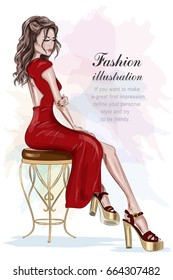 Beautiful fashion woman in red dress sitting on vintage chair. Sketch. Hand drawn pretty girl. Vector illustration.