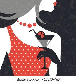 Beautiful fashion woman silhouette. Flat design