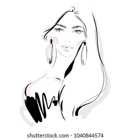 Beautiful fashion woman vector portrait. Hand drawn illustration for black and white print, greeting card design, invitation.