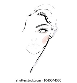 Beautiful fashion woman vector portrait. Hand drawn illustration for black and white print, greeting card design, invitation.