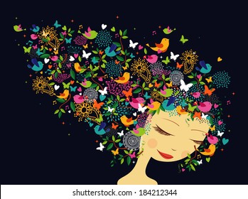 Beautiful fashion women abstract hair flower and bird composition. Summer and springtime concept. Vector illustration layered for easy manipulation and custom coloring.