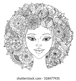 Beautiful fashion women with abstract hair and floral design elements could be used  for coloring book.  Black and white in zentangle style.