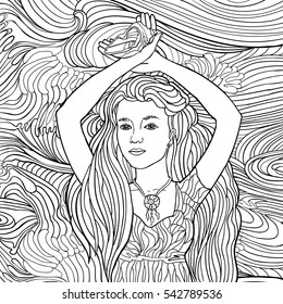 Beautiful fashion women with abstract hair and marine design elements could be used for coloring book. Black and white in zentangle style. Sea, waves, shell. Marine theme. Fantasy. Vector illustration