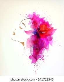 Beautiful fashion women with abstract pink flower and blots.