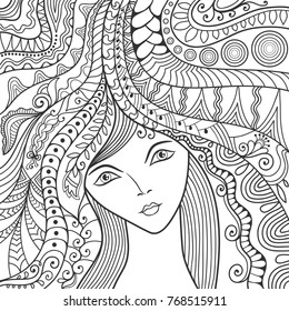 Beautiful fashion women, girl with abstract long hair. Hand drawn face. Zen-doodle art, tattoo design, black and white illustration. Freehand sketch drawing for adult anti stress coloring book page