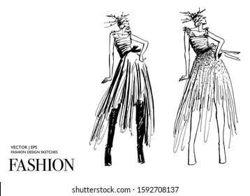 Beautiful fashion women. Hand drawn stylish young lady.  Woman silhouette. Fashion illustration sketch. Black ink drawing. Fashion model posing. Shopping concept