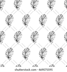Beautiful feathers. Seamless background. Repeating texture. Background for your blog or your projects. Desktop wallpapers. Graphic illustration.