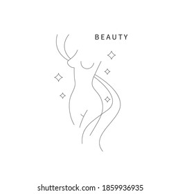 Beautiful female body symbol. Plastic surgery, liposuction logo. Female torso drawn with thin line. Beauty icon