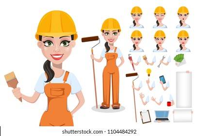 Beautiful female builder in uniform, cartoon character set. Professional construction worker. Smiling repairer woman. Pack of body parts, emotions and tools. Vector illustration