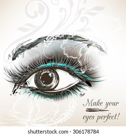 Beautiful female eye with bright make up hand painted vector illustration