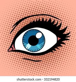 Beautiful female eye with make-up pop art retro vintage style