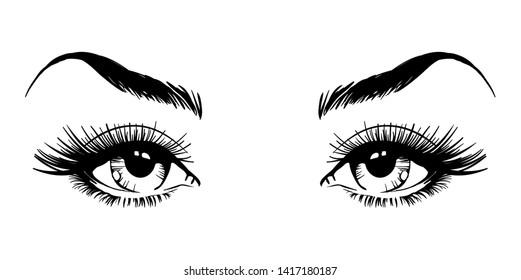 Beautiful female eyes with long eyelashes