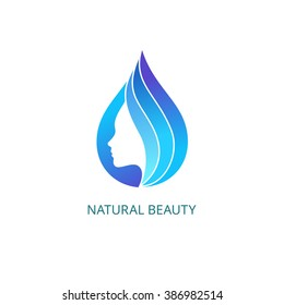 Beautiful Female Face in Drop with Waves. Vector Logo Template. Abstract Business Concept for Beauty Salon, Barbershops, Massage, Cosmetic and Spa.
