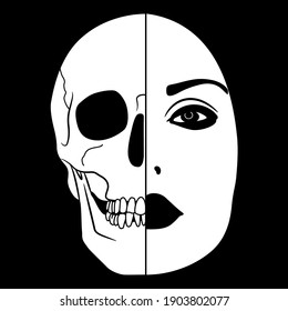 Beautiful female face half skull. Dead and alive head. Juxtaposition of life and death. Vita brevis. Memento mori. Black and white silhouette. Creative conceptual art.