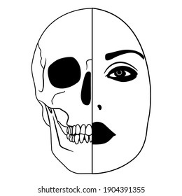 Beautiful female face half skull. Dead and alive. Juxtaposition of life and death. Vita brevis. Memento mori. Black and white silhouette. Creative conceptual art.