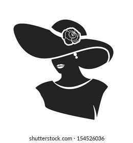 beautiful female face with hat black silhouette icon. vector illustration