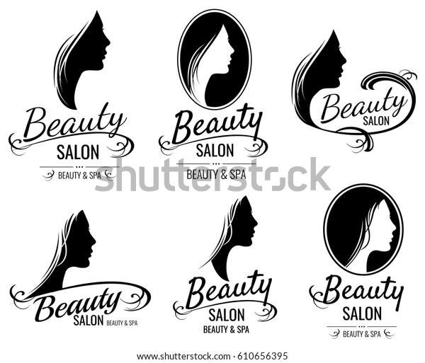 Beautiful female face portrait, woman head silhouette vector logo templates for barber shop, beauty salon, cosmetic products, spa center. Illustration of stylish emblem spa salon.