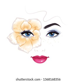 Beautiful female face with rose petals around her eye. Isolated vector illustration.