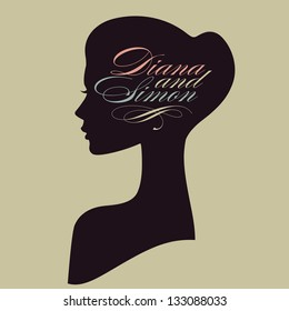 Beautiful female face silhouette in profile. Wedding vector design