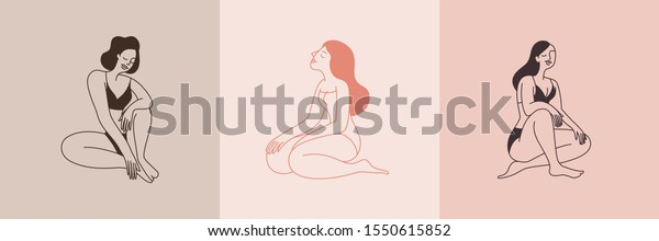 Beautiful female figure. Vector logo design template and illustration in simple minimal linear style - body positive emblem, abstract badge for lingerie designer and swimsuit shop,  cosmetology, massa