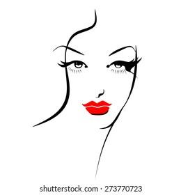 Beautiful female image. Simple lines.