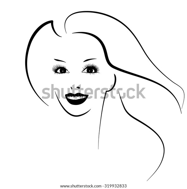 Beautiful female image. Simple lines. Ink drawing. Black and white.