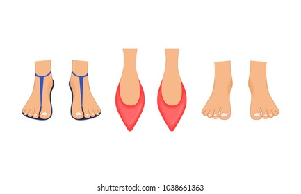 Beautiful female legs in red Slippers, summer beach sandals and bare feet with a pedicure. Illustration done in cartoon style. Legs for business character.