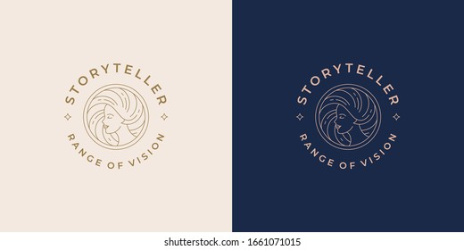 Beautiful female line profile face with hairs vector logo emblem design template illustration simple minimal linear style. Outline graphics for cosmetology branding and hair salon.