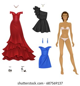 Beautiful female paper doll with evening and cocktail dresses set. Vector illustration.